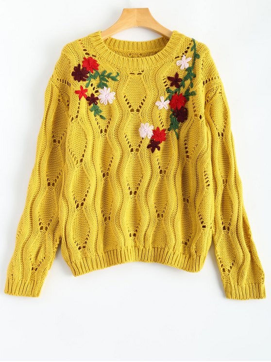 lady Floral Embroidered Cut Out Pullover Sweater - YELLOW ONE SIZE
