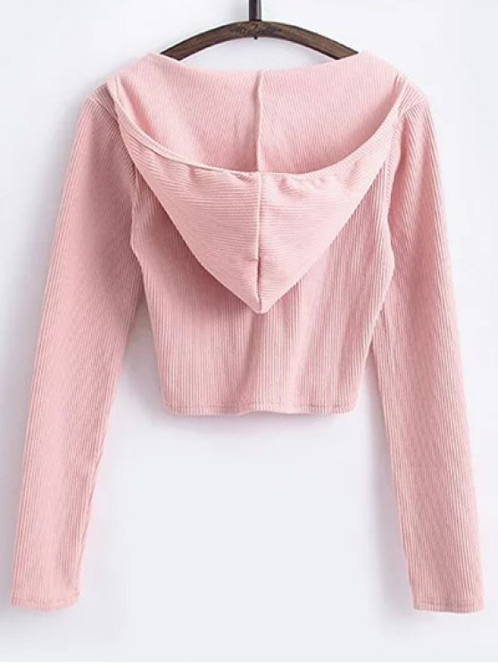 Hooded Crop Top With Drawstring Leggings - PINK M Mobile