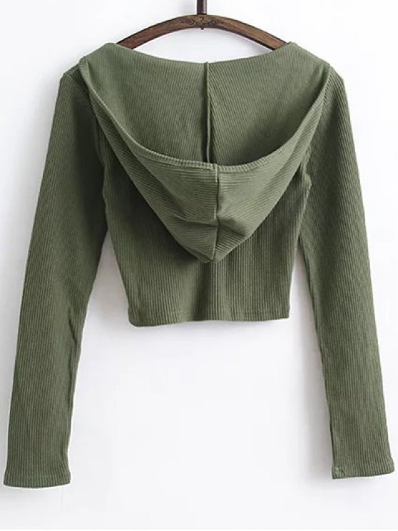 Hooded Crop Top With Drawstring Leggings - ARMY GREEN M Mobile