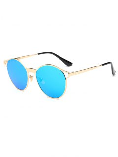 Hollow Out Frame Oval Mirrored Sunglasses - Ice Blue