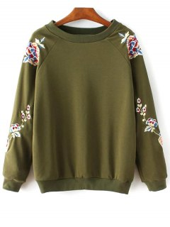 Floral Embroidered Round Collar Sweatshirt - Army Green M