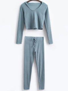 Hooded Crop Top With Drawstring Leggings - Grey Blue S