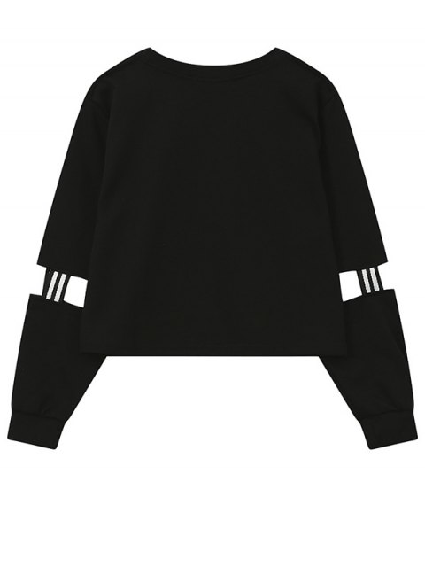 trendy Print Patched Spliced Sleeve Graphic Sweatshirt - BLACK ONE SIZE Mobile