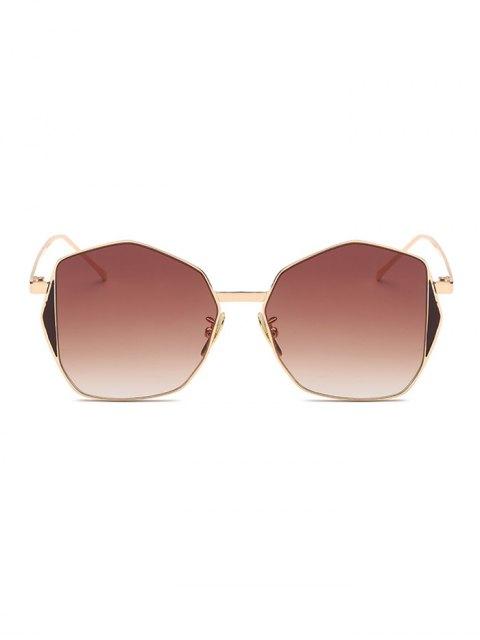 fashion Triangle Embellished Irregular Sunglasses - TEA-COLORED  Mobile