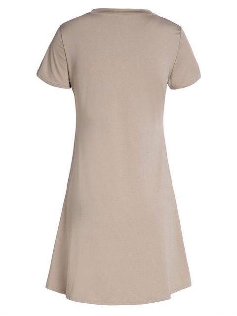 outfit Lace-Up A-Line Dress - KHAKI M Mobile