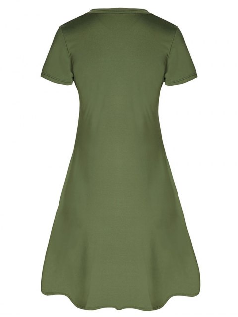 trendy Lace-Up A-Line Dress - ARMY GREEN L Mobile
