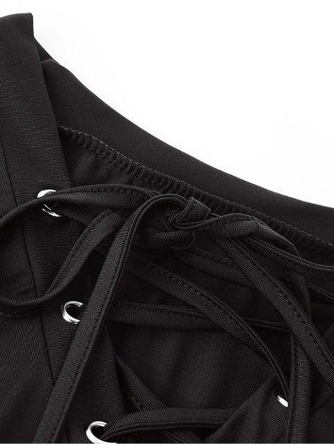 unique Lace-Up A-Line Dress - BLACK M Mobile