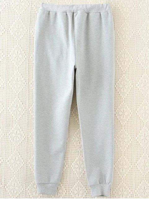 ladies Striped Plus Size Drawstring Sweatpants - GRAY 3XL Mobile
