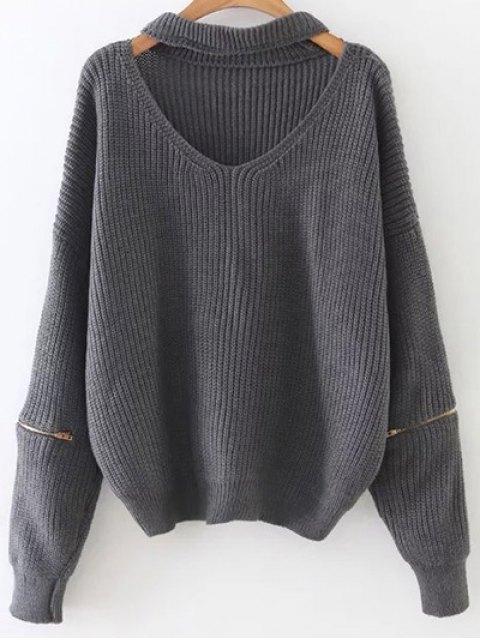 lady Zipped Oversized Choker Neck Sweater - GRAY  Mobile