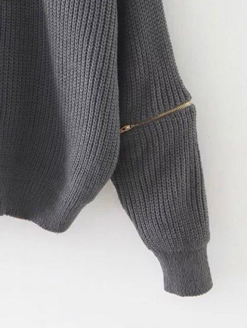 best Zipped Oversized Choker Neck Sweater - BLACK  Mobile