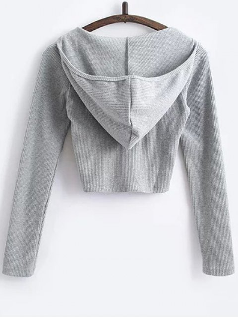 latest Hooded Crop Top With Drawstring Leggings - GRAY L Mobile