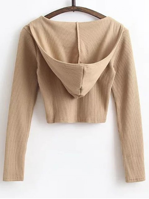 chic Hooded Crop Top With Drawstring Leggings - KHAKI L Mobile