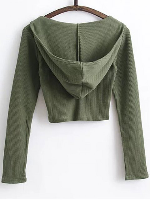 buy Hooded Crop Top With Drawstring Leggings - ARMY GREEN S Mobile