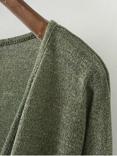 buy Low Cut  Surplice T-Shirt - DEEP GRAY L Mobile