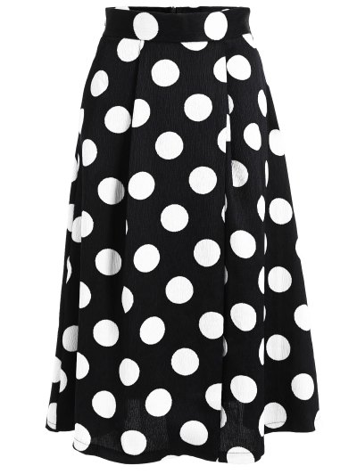 A Line High Waist Polka Dot Skirt - Black