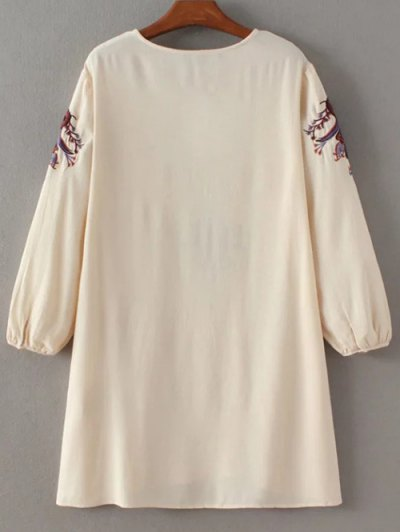 Lace-Up Embroidery Mini Dress - APRICOT L Mobile