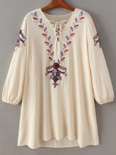 Lace-Up Embroidery Mini Dress - APRICOT S Mobile