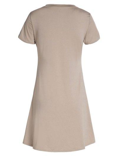Lace-Up A-Line Dress - KHAKI M Mobile