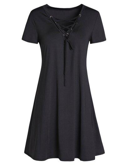 Lace-Up A-Line Dress - Black