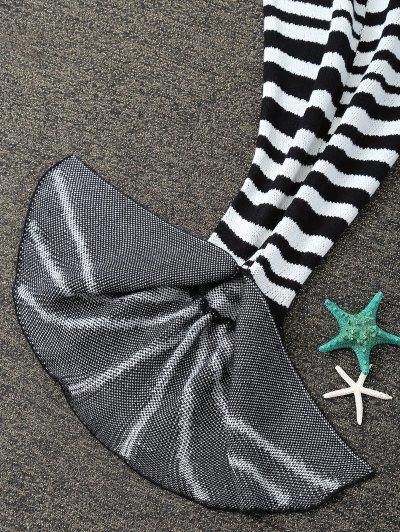 Kintted Fishbone Mermaid Blanket For Kids - WHITE AND BLACK  Mobile