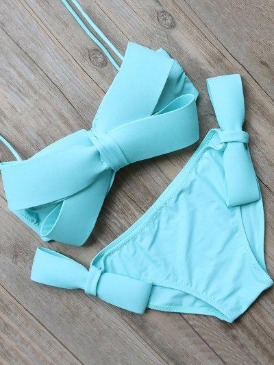 Bowknot Halter Bikini Set - Blue