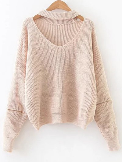 Zipped Oversized Choker Neck Sweater - Pinkbeige