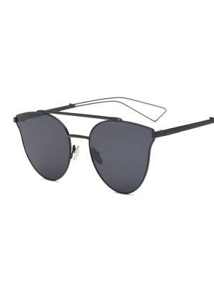 Hollow Out Leg Crossbar Butterfly Sunglasses - Black