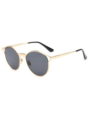 Hollow Out Frame Oval Sunglasses - Golden
