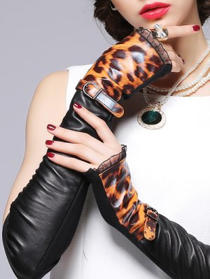 Belt Leopard Pattern Leather Arm Warmers - Black