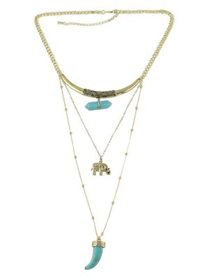Faux Turquoise Layered Necklace - Golden