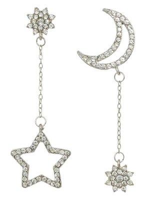 Rhinestone Star Asymmetric Earrings - Silver