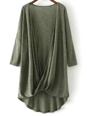 Low Cut  Surplice T-Shirt - Army Green