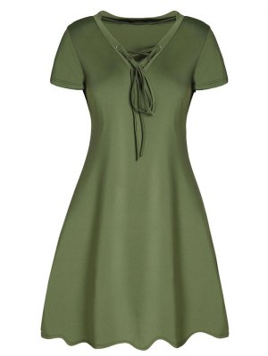Lace-Up A-Line Dress - Army Green