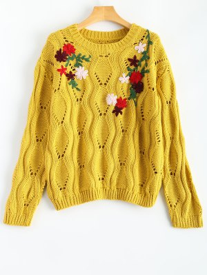 Floral Embroidered Cut Out Pullover Sweater - Yellow