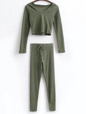 Camisa Corta Con Capucha Y Polainas De Lazo - Verde Del Ejército