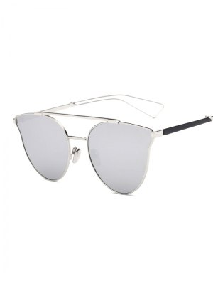 Hollow Out Leg Crossbar Butterfly Mirrored Sunglasses - Silver