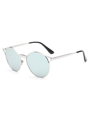 Hollow Out Frame Oval Mirrored Sunglasses - Light Blue