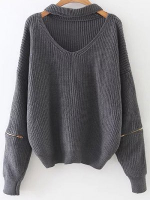 Zipped Oversized Choker Neck Sweater - Gray