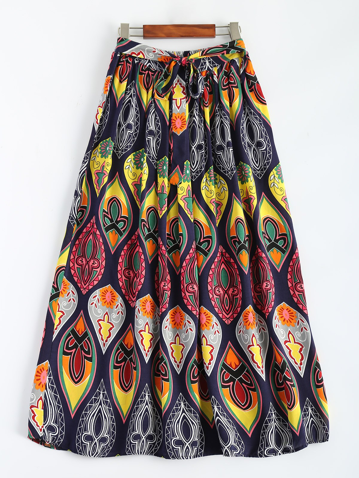 Bowknot Retro Print Maxi Skirt