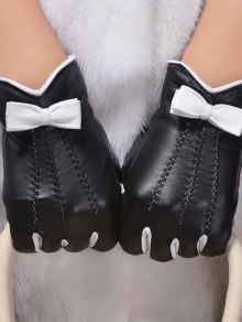 Bowknot Wave Cut Thicken Short Gloves - Black M