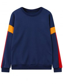 Color Block Fleece Sweatshirt - Deep Blue