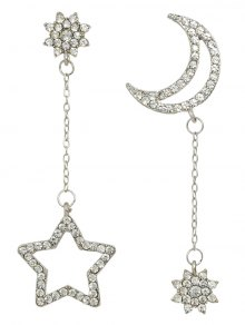 Rhinestone Star Asymmetric Earrings - Silver