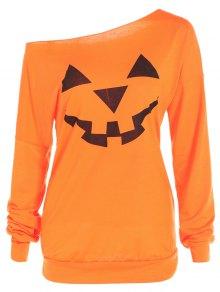 One Shoulder Pumpkin Print Halloween Sweatshirt - Yellow Orange L
