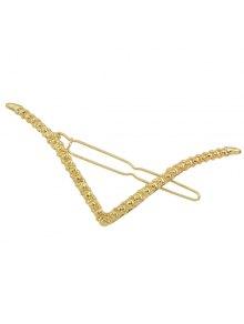 Emboss V Shape Support Hairpin - Golden
