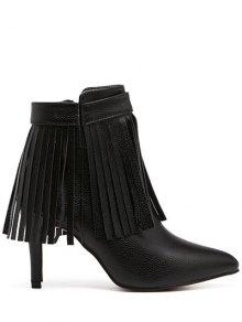 Buy Fringe Pointed Toe Zipper Ankle Boots - BLACK 38