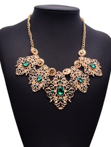 Rhinestone Faux Gem Engraved Floral Necklace
