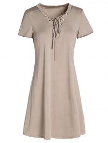 Lace-Up A-Line Dress - Khaki