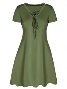Buy Lace-Up A-Line Dress M ARMY GREEN