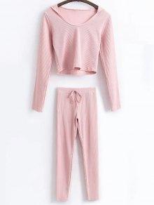 Hooded Crop Top With Drawstring Leggings - Pink