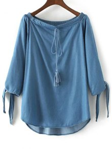 Off The Shoulder Chambray Top - Ice Blue